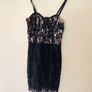 Little black dress lace ax's bodysuit thong
